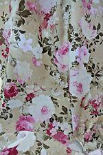 Stoff Ottoman Baumwolle Rosengarten Rose beige Vorhang Kissen Tischdecke 0,5 mtr