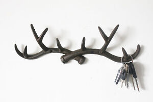 Vintage Cast Iron Deer Antlers Wall Hook Shabby Chic Coat Rack Key Holder Hanger
