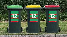 NRL South Sydney Rabbitohs League Wheelie Garbage Rubbish Sticker House Number