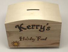 Personalised Wooden Money Box pyrography Gift Idea For Him Or Her