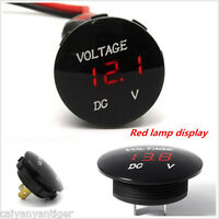 12V-24V Car Motorcycle Red LED DC Digital Display Voltmeter Waterproof Meter