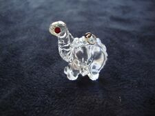 VINTAGE AUSTRIAN CRYSTAL CLEAR DINOSAUR W/ RED EYES PENDANT Made in USA