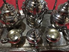 WM Rogers & Son Tea Serving Set, Tray, Kettle, 2092 Silver Silverplate Antique