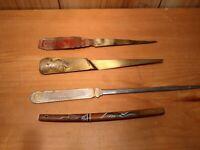 Lot of 4 vintage letter openers1934 World's Fair, Metallic Vault Company,Katana
