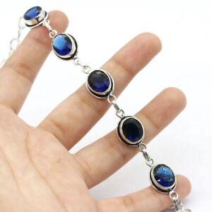 "Tanzanite Quartz 925 Silver Plated Handmade Gemstone Bracelet 8.5"" Ethnic Gift"