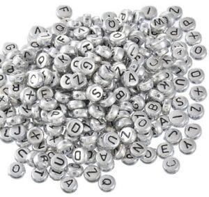 475 St Sonder-Mix Buchstabenperlen silber rund flach mix Namensschmuck Alphabet