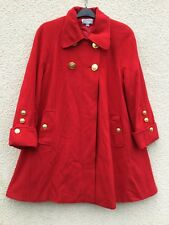 MANSFIELD VINTAGE RED CASHMERE WOOL MILITARY SWING COAT JACKET STYLISH DESIGNER