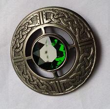 Kilt Fly Plaid Spilla Green Stone SILVER finitura anticata Design Celtico PIN vestito