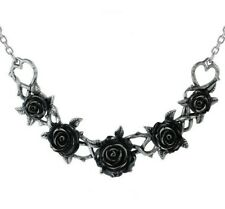 Black Rose Garland Briar Brambles Vine Choker Resin Pewter Alchemy Gothic P864