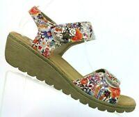Spring Step Luisella Floral Ankle Strap Platform Wedge Sandals Women 9.5-10 / 41