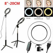 20cm LED Ringlicht Ringleuchte Dimmbar mit Handy Stativ für Makeup Füllen Licht