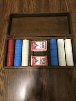 Beautiful Vintage Casino Poker Chip Set With Wooden Box