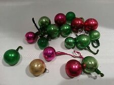VINTAGE CHRISTMAS BALLS PICKS COLLECTION OF 17 SMALL & SMALLER PINK GREEN RED 1""