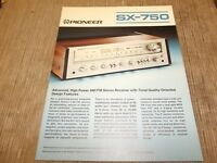 Pioneer SX-750 Stereo Receiver original vintage Catalogue
