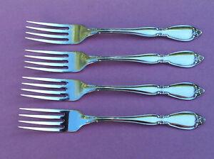 4 Oneida Community CHATELAINE Stainless Dinner Forks