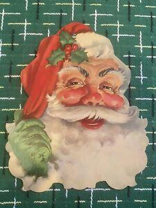 Vintage1950s Christmas Cardboard Die Cut Decoration SANTA CLAUS Head Made in USA