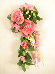 Artificial Flowers Pink Rose Statice Ribbons Tailed Candle Ring Wedding Decor