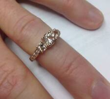 Christmas Special 1.99Ct Morganite & Diamond 3 Stone Ring 14K Rose Gold Over 925