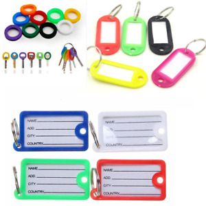 Plastic Key Ring Fob Tags With Blank Name ID Label 3 style & 6 different colour