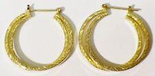 boucles d'oreilles percées anneaux double finement gravé couleur or * 4051