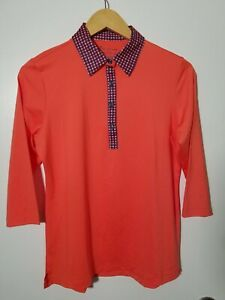 1 NWT PETER MILLAR WOMEN'S LS POLO, SIZE: MEDIUM, COLOR: CORAL/NAVY (J149)