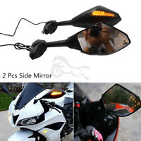 Matte Black Motorcycle Mirrors W/LED Turn Signals For Yamaha YZF R6 YZF R1