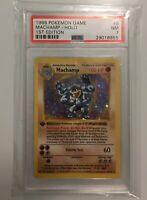 1999 WOTC Pokemon Base Set Shadowless Machamp Holo 1st Edition PSA 7 - NM #8/102