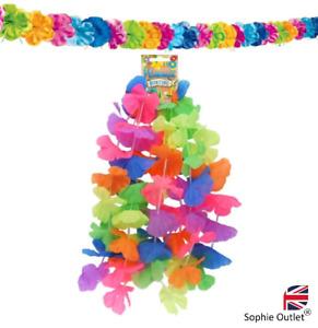 RAINBOW LEI HULA BUNTING Hawaiian Flower Garland Gay Pride Hen Beach Party UK