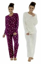 Foxbury Ladies Snowflake Glitter Fleece Twosie Pyjama Set