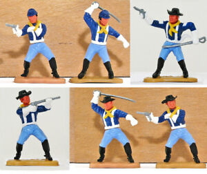 Six (6) Timpo Last Series 7th Cavalrymen - includes Standing Firing toy soldier