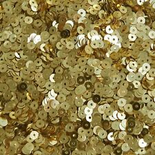 4mm Flat Round Sequins Rich Egyptian Gold Shiny Metallic. Made in USA