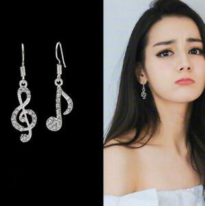 Fashion 1pair Colorful Crystal Music notes.Stud Earring Women Party Jewerly