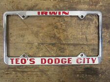 VINTAGE License Plate Frame Teo's Dodge City- Irwin, PA