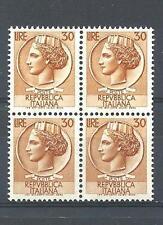 Italy 1968 Sc# 998b Italia Syracuseon coin 30L block 4 MNH