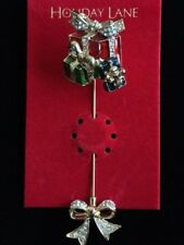 NWT MACY'S HOLIDAY LANE CHRISTMAS PRESENTS PACKAGE BOW STICK PIN BROOCH JEWELRY