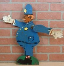 Old Folk Art Wooden Chubby POLICEMAN WHIRLIGIG Moustache Hat Badge Striped Socks