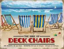 Deckchairs For Hire Vintage Retro Classic British Holiday Large Metal Tin Sign