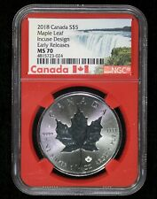 2018 NGC MS70 Early Releases Silver Maple Leaf Incuse Design Item#J6629