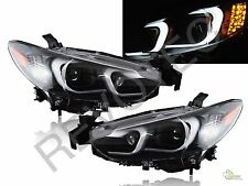 Black LED Bar Projector Headlights Halogen For 2014-2015 Mazda 6 Sedan RH + LH