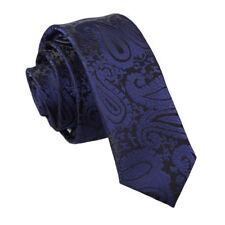 Navy Blue Mens Skinny Tie Woven Floral Paisley Formal Wedding Necktie by DQT