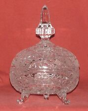 """Bowl With Lid - Crystal Glass - Pressed - Cut - Polished - 9 ½"""" H - New"""