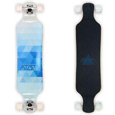 Atom Longboard Skateboard Professionale Drop Deck 39 Inch Blue Triangles