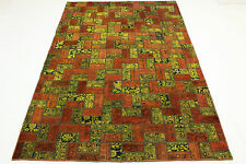 Patchwork Vintage Orient Tapis marron orange jaune 310x210 noué à la main 1874
