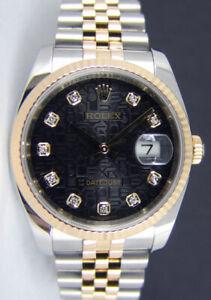 ROLEX REHAUT 18kt Gold & SS DateJust Black Jubilee DIAMOND 116233 SANT BLANC