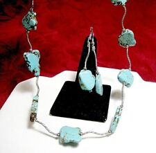 SILVER PLATED TURQUOISE CHUNKY STONES CURVY CHAIN NECKLACE & EARRINGS SET