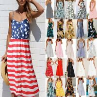 Women's Holiday Strappy Button Pocket Dresses Summer Beach Midi Swing Sundress