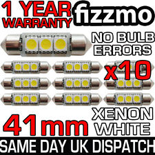10x 41MM 3 SMD LED C5W 264 ERRORE CANBUS Libero INTERNO BIANCO LUCE Festoon BULB