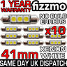 10x 41mm 3 SMD LED 264 C5W CANBUS ERROR FREE WHITE INTERIOR LIGHT FESTOON BULB