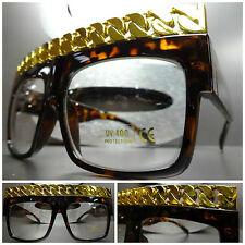 Men's or Women OVERSIZE VINTAGE Clear Lens EYE GLASSES Tortoise Gold Chain Frame