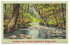 UPPER FAIRMOUNT MD Vtg Greeting Postcard River Scene